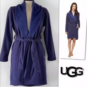UGG BLANCHE BLUE HEATHER FLEECE LINED ROBE SZ S
